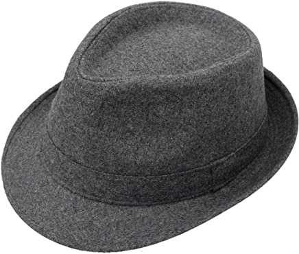 782bffe37b1dcb Simplicity Indiana Men's Adult Deluxe Structured Fedora Hat, 3435_Charcoal  Grey