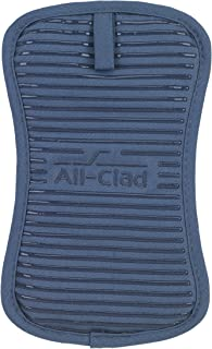 All-Clad Textiles Deluxe Heat and Stain Resistant Pot Holder. Silicone Treated Heavyweight 100-Percent Cotton Twill Hot Pad,  Machine Washable, 6-inches by 10-inches, Cornflower