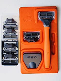 Harry's Men's Razor Set with 6 Razor Blades, Bright Orange