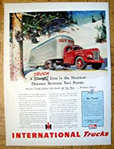 1945 International Harvester Trucks-Winter Scene Original 13.5 * 10.5 Magazine Ad