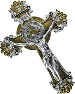 Religious Gifts Saint Benedict Wall Crucifix with Antique Silver and Gold Finish, 10 1/4 Inch