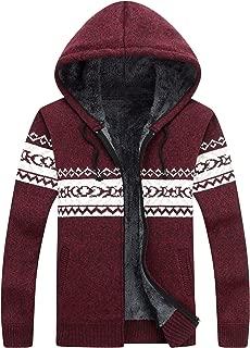 Men's Casual Slim Fit Full Zip Up Fleece Lined Hooded Cardigan Sweaters W Pockets