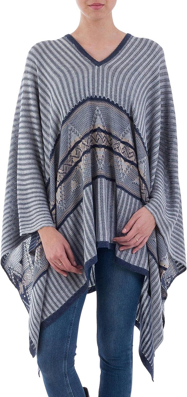 NOVICA Blue Cotton Blend Geometric Striped Bohemian Poncho, Memories Past'