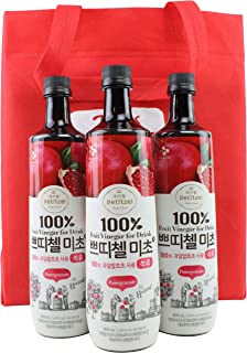 Korean CJ Petitzel Fruit Vinegar Drink Concentrate, 3 Bottle Set: Pomegranate, 91 Fl Ounces