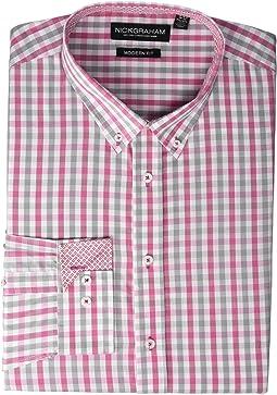 Plaid Print CVC Yarn-Dye Dress Shirt