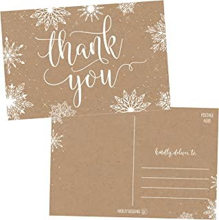 25 4x6 Blank Christmas Holiday Thank You Postcards Bulk, Cute Kraft Winter Snowflake Note Card Stationery For Wedding, Bridesmaids, Bridal or Baby Shower, Teachers, Religious, Business Cards
