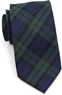 Bows-N-Ties Men's Necktie Green Navy Tartan Plaid Wool Matte Tie 3 Inches