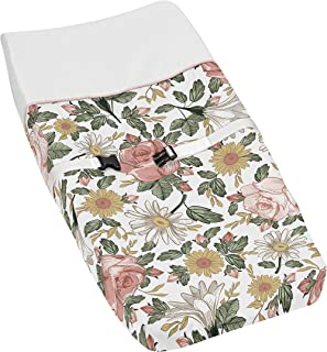 Sweet Jojo Designs Vintage Floral Boho Girl Baby Nursery Changing Pad Cover - Blush Pink, Yellow, Green and White Shabby C...