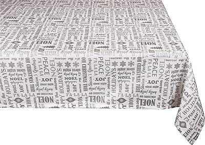 Yourtablecloth Metallic Printed Cotton Tablecloth (Silver, 60 x 104 Rectangle/Oblong)