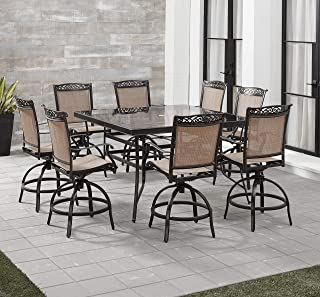 Hanover FNTDN9PCBRSQG Fontana 9-Piece Counter-Height Dining Set Outdoor Furniture, Tan