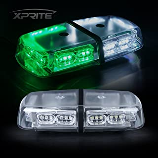 Xprite Gen 3 White Green 36 LED 18 Watts Roof Top Hign Intensity Law Enforcement Emergency Hazard Warning LED Mini Bar Strobe Light with Magnetic Base
