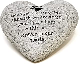 Gift Boutique Pet Memorial Stones Paw Print Memory Heart Resin Stone Dog, Cat, Animal Loss Grave Garden Outdoor Remembrance Tombstone Headstone Burial Gravestone Pets Loving Sympathy Remembered