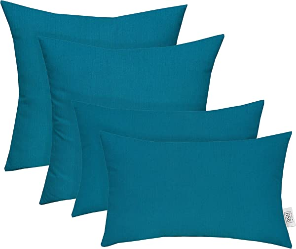 RSH D Cor Set Of 4 Indoor Outdoor Square Rectangle Lumbar Throw Pillows Made Of Sunbrella Spectrum Peacock 20 X 12 17 X 17