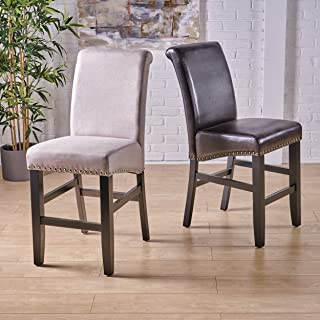 Christopher Knight Home Clifton Brown Leather Counter Stools w/Brass Nailheads (Set of 2)