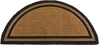Kempf Half Round Black Border Coco Doormat, Heavy Duty Doormat, Double Door Entrances, 30 x 60-inch