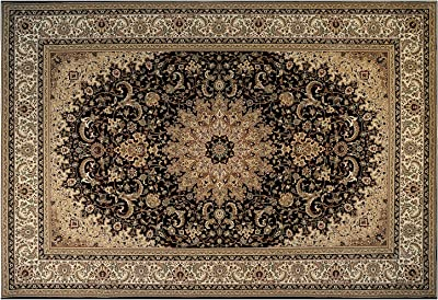 Gertmenian Medallion Platinum Label Oriental Persian Area Carpet, 8x10 Large, Black Gold Rosette