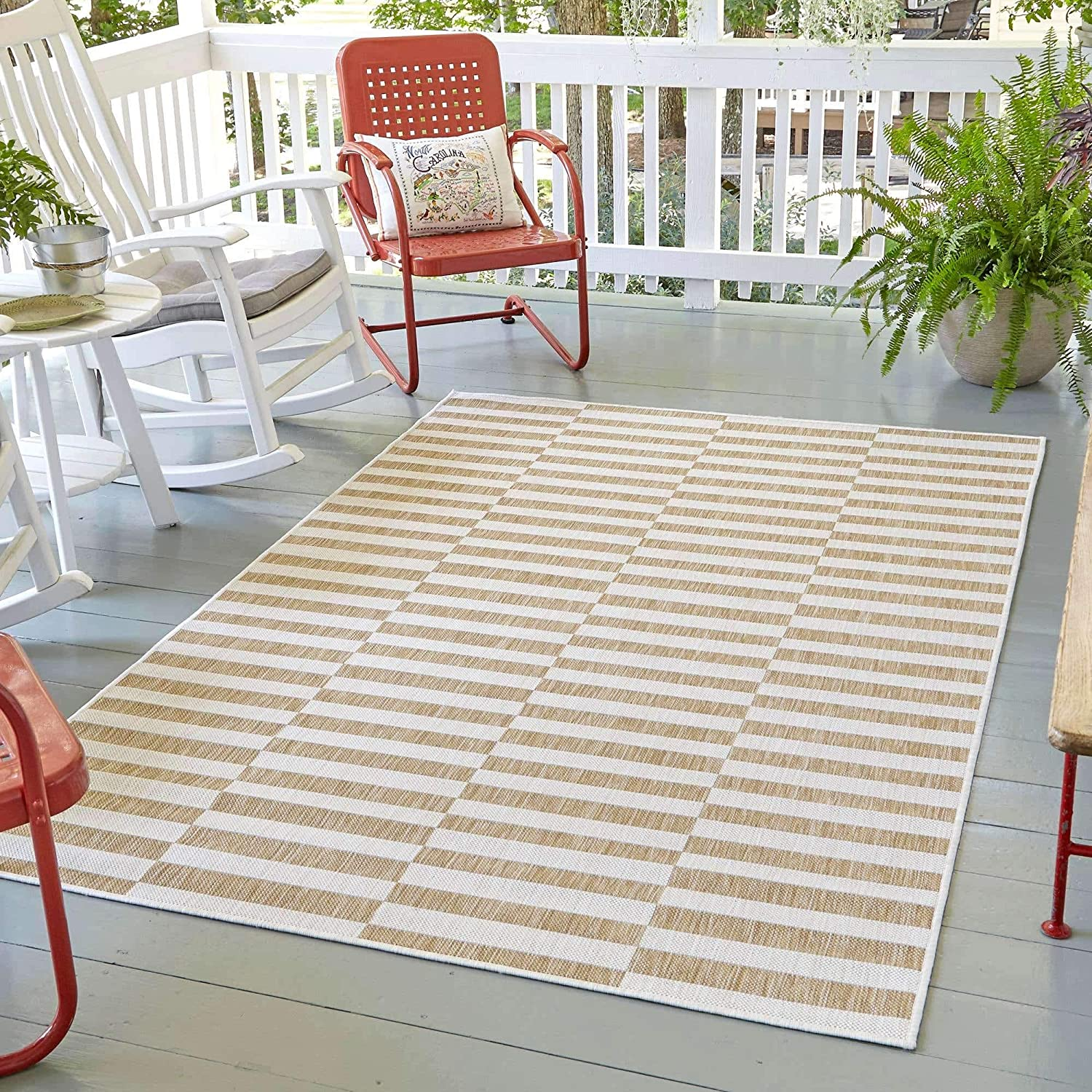 Unique Loom Outdoor Collection Transitional Colorado Springs Mall 5% OFF Ind Classic Stripes
