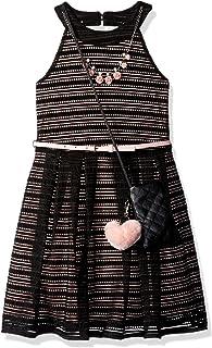فستان بناتي من Beautees برقبة على شكل حرف U بخطوط وهمية كبيرة
