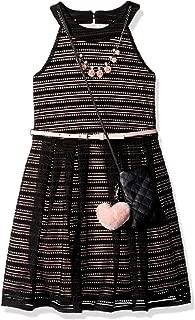Beautees Girls' Big Illusion Stripe Halter U Neck Dress