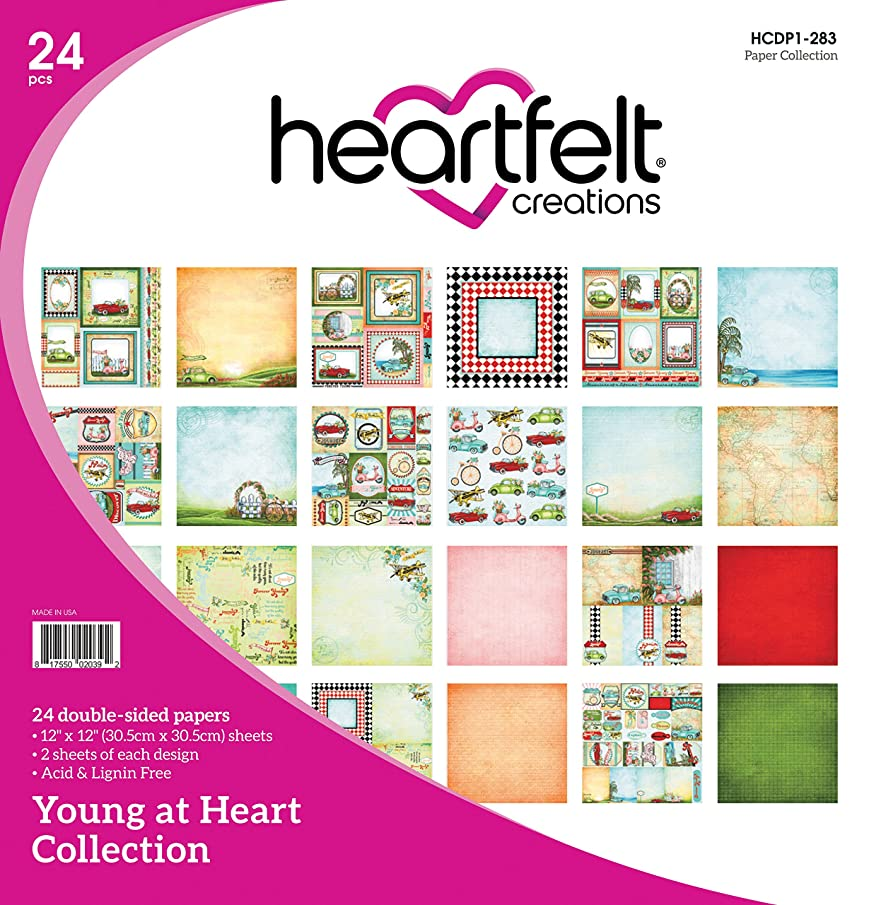 Heartfelt Creations Young at Heart 12 Designs Double-Sided Paper Pad 24/Pkg-/2 Each Each, 12