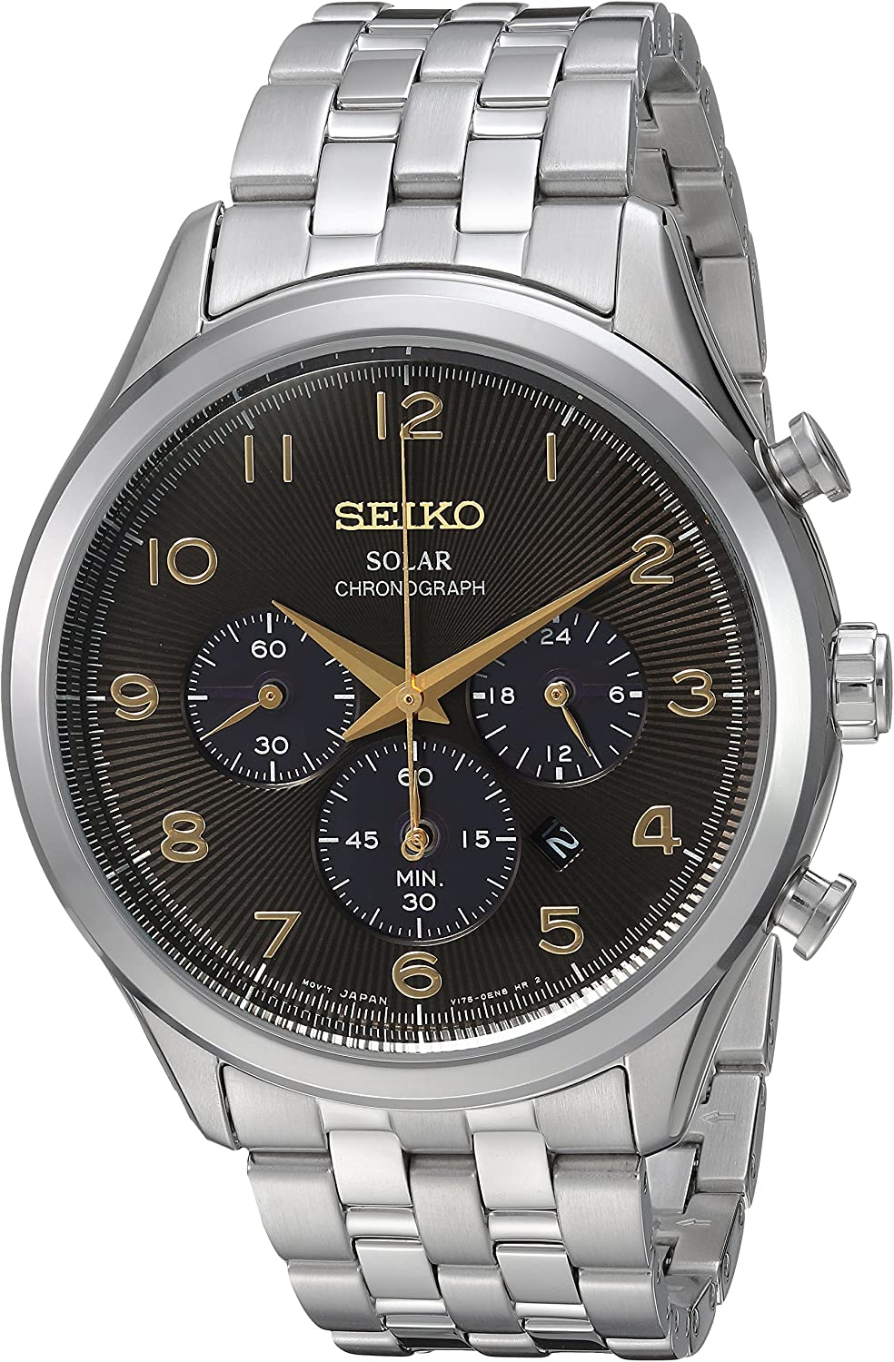 Seiko Mens Solar Chronograph Stainless Steel Japanese-Quartz Watch with Stainless-Steel Strap, Silver, 20 (Model: SSC563)