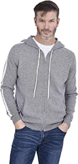 Men's Racer Stripes Zip Up Hoodie 100% Pure Cashmere Fashion Full-Zip Down Pullover with Pockets