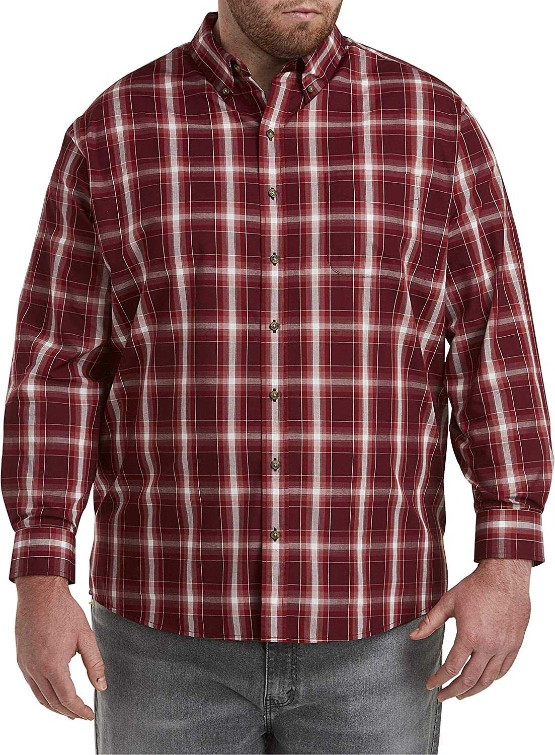 Harbor Bay by DXL Big and Tall Easy-Care Medium Plaid Sport Shirt, Wine White Multi