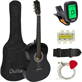 Best Choice Products 38in Beginner Acoustic Guitar Starter Kit w/Case, Strap, Digital E-Tuner, Pick, Pitch Pipe, Strings (Black)
