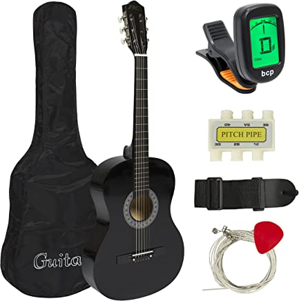 Best Choice Products 38in Beginner Acoustic Guitar Bundle Kit w/Case, Strap, Tuner, Pick, Pitch Pipe, Strings - Black