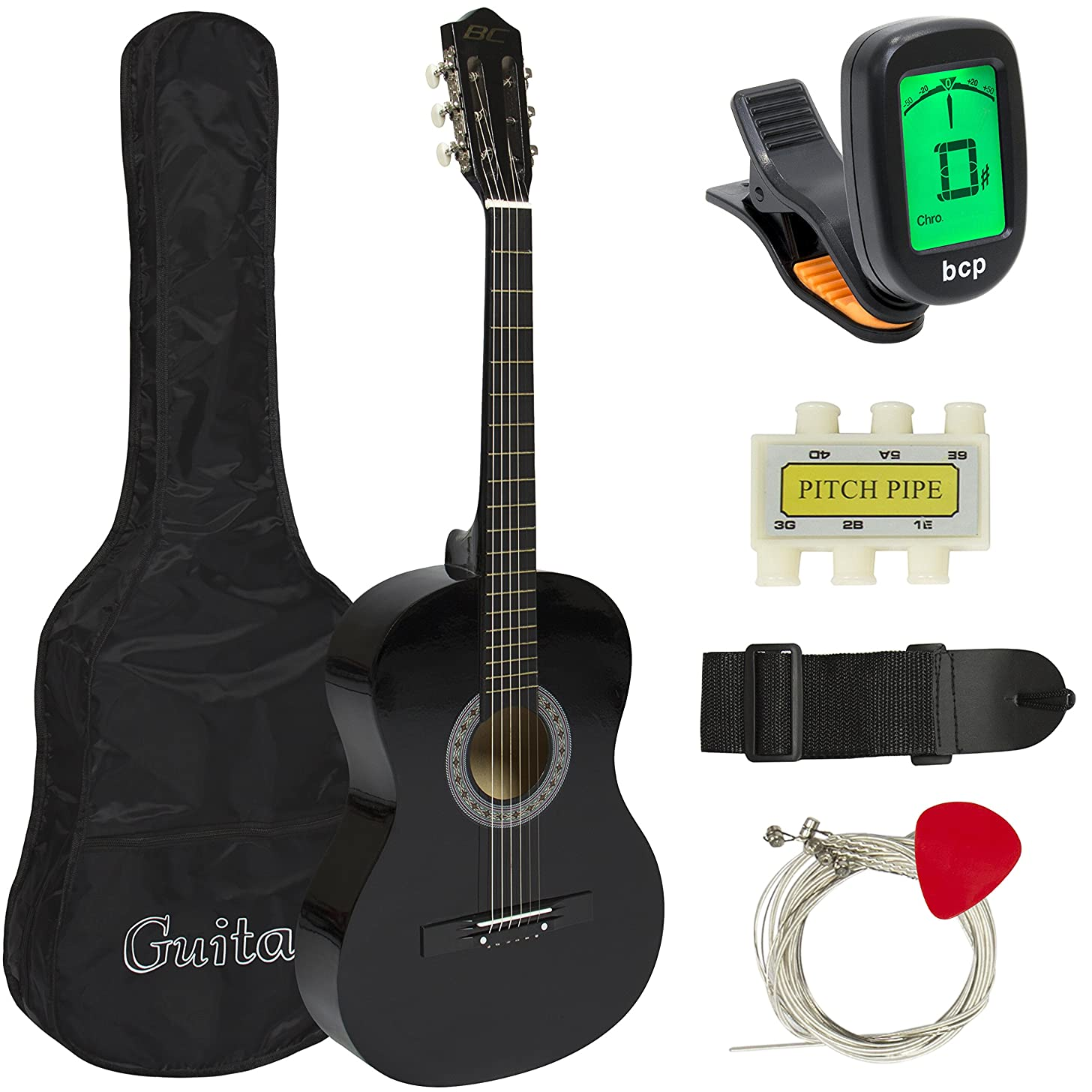Best Choice Products 38in Beginner Acoustic Guitar Kit w/Case, Strap, Digital E-Tuner, Pick, Pitch Pipe, Strings (Black + Capo SIlver)