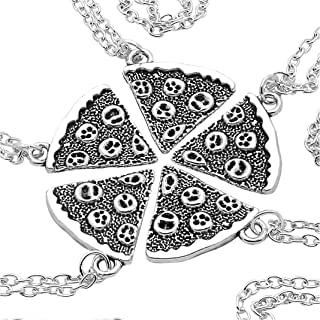 Art Attack Silvertone Pizza Pie Pepperoni Lover Best Friends Forever BFF Matching Pendant Necklace Gift Set