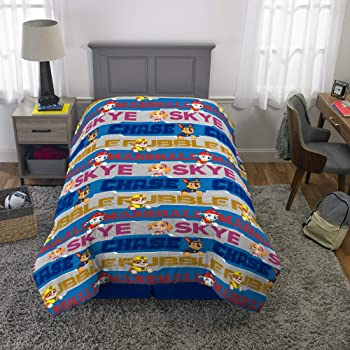 Nickelodeon Paw Patrol Super Soft Kids Bedding Set, 5 Piece Twin Size, Includes Blue Logo-Throw