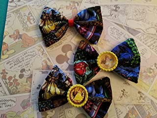 Disney Beauty and the Beast Stained Glass Fabric hair bows with bottle cap center,Belle hair bow, Disney beauty and the beast hair bow