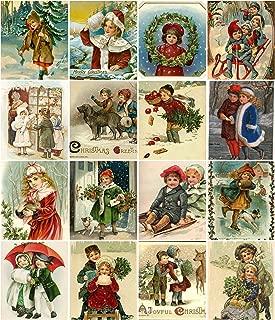 Victorian Vintage Children Christmas Card Collage Sheet 8.5 x 11