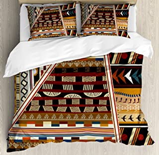 Ambesonne Tribal Duvet Cover Set, Various Abstract Geometrical Motifs Folkloric American Culture Inspired Vintage Design, Decorative 3 Piece Bedding Set with 2 Pillow Shams, King Size, Brown