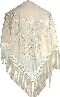 La Señorita Mantones bordados Flamenco Manton de Manila crema blanco con Flores Large