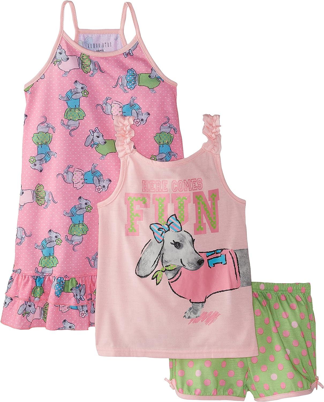 Komar Kids Big Girls' Here Comes The Fun 3 Piece Pajama Set