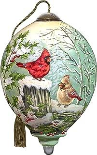 Ne'Qwa Art Hand Painted Blown Glass Winter Visitors Ornament, Cardinal