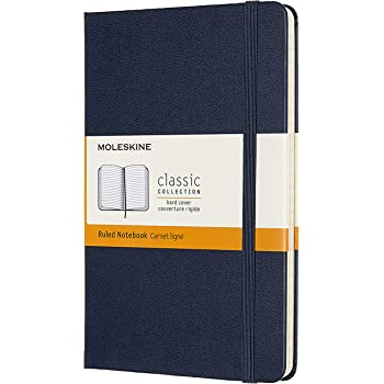 Moleskine - Carnet de Notes Classique Papier à Rayures - Journal Couverture Rigide et Fermeture par Elastique - Couleur Bleu Saphir - Taille Format Moyen 11.5 x 18 cm - 208 Pages