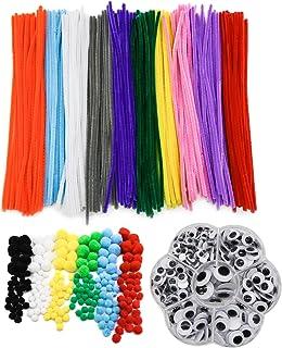 TOAOB 662pcs Couleurs Assorties Pipe Cleaner Fils Chenille avec Yeux Mobiles Autocollants et Multicolore Pompons Loisirs C...