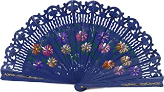 We pay your sales tax Double Sided Wooden Spanish Floral Print Design Hand Fan Party Decoration Gift D13424-3