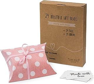 Plantvibes® Boîtes Cadeaux en Papier pointillé avec Cartes et nœuds, Set de Coussins à Offrir, réutilisables