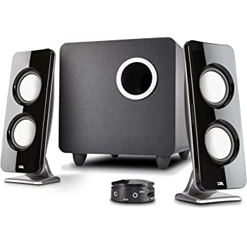 Cyber Acoustics 62W 2.1 Stereo Speaker with Subwoofer - Great for multimedia laptop or PC computers - perfect for Music, Movies, and Gaming (CA-3610),Black