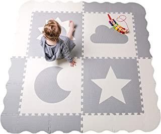 "Baby Play Mat Tiles - 61"" x 61"" Extra Large, Non Toxic Foam Baby Floor Mat - Grey & White Interlocking Playroom & Nursery Playmat - Safe & Protective for Infants & Toddlers (Grey)"