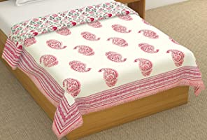 BLOCKS OF INDIA Cotton Dohar, Pink & Red, Single Size