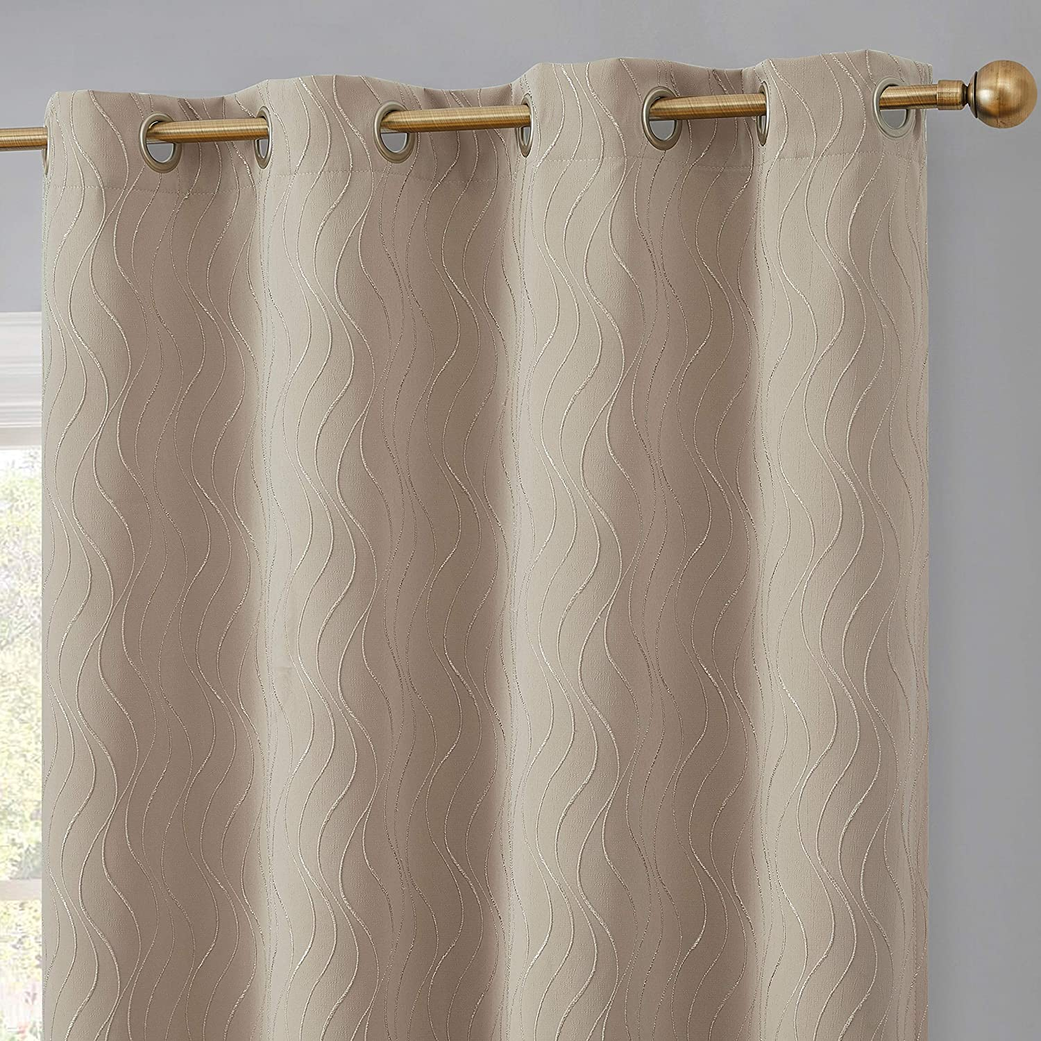 HLC.ME Camden 100% Complete Blackout Thermal Insulated Window Curtain Grommet Panels - Energy Efficient & Noise Reducing - Great for Living Room & Bedroom - Set of 2 (50  W x 84  L, Taupe)