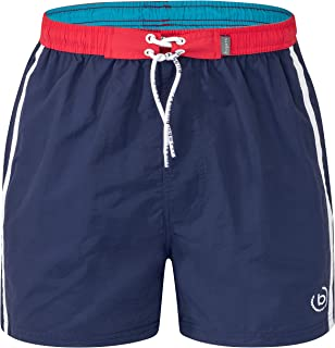 Bugatti® - Modern men's swimming shorts in red, turquoise, navy and green with attractive contrasting colour on the waistband