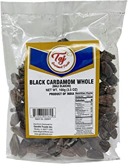 TAJ Premium Indian Black Cardamom, Kali Elaichi, 3.5-Ounce