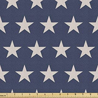 Ambesonne Star Fabric by The Yard, Patriotic Star of The American Flag Independence Themeds of Freedom, Decorative Fabric ...
