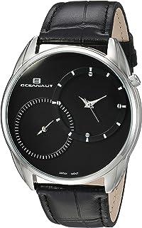 Oceanaut Men's Sentinel Stainless Steel Quartz Watch with Leather Strap, Black, 21 (Model: OC3351)